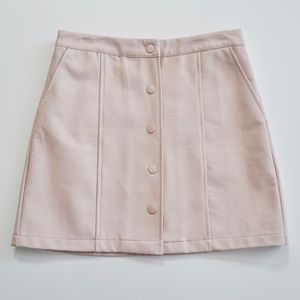 F21 Pink Pleather Button Mini Skirt